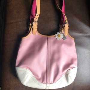 Coach purse pink canvas with daisy